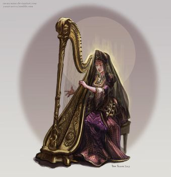 Lucia Plays the Harp by MeMyMine