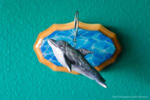 Dolphin wall sculpture, mixed media by NoirArt
