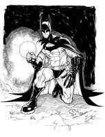 Batman detective mode inked pre-order sketch by JoeyVazquez