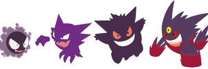Gastly, Haunter, Gengar and Mega Gengar Base by SelenaEde