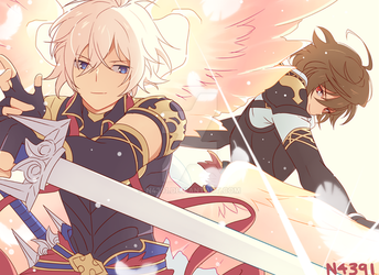 Lucifer and Sandalphon by n4391