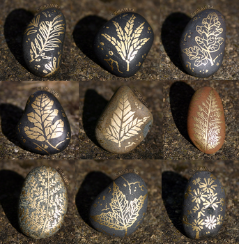 Painted Fossil Rock Magnets - Plants + Leaves by KiRAWRa