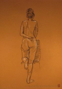 Standing woman with knee resting on chair by torbjornhirsch