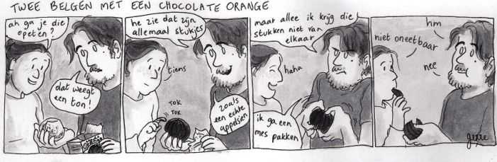 Two Belgians with a chocolate orange by gerre