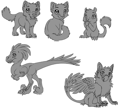 Free Lines - Wolf Cat Gryph Raptor Rodent by therougecat