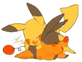 tepig and pikachu by teacosies