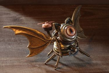 Winged Steampunk Cat Minion Sculpture by CatherinetteRings