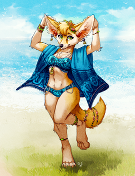 Beach Fennec by TasDraws