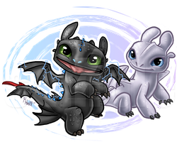 Baby Toothless and Light Fury by MonocerosArts