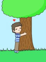 Evan the tree hugger by KammyBale