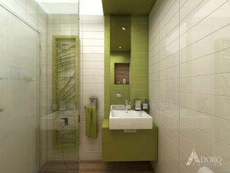 Bathroom with white, green and wood tiles by adorodesign