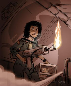 Ripley, Jones and Xenomorph Commission for Daryl by ktshy