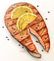 Grilled Salmon Steak Illustration by ScarletWarmth