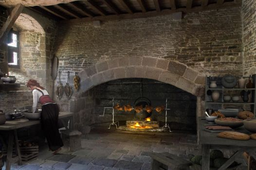 Kitchen in the Chateau de Pirou in the Normandi. by richmel1