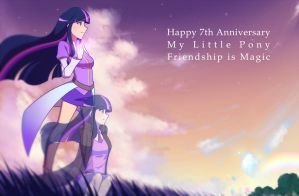 Happy 7th Anniversary My Little Pony by JonFawkes