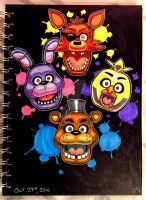 Inktober 2016: The Five Nights at Freddy's gang by Red-Flare