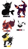 Eeveelutions OCs by EliteUnicorns