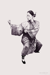 Woman in kung fu stance by cassiopolegatto