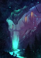 daily speedpaint 212 - An underdark town by iDaisan