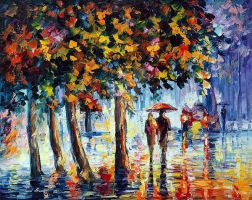 Coolness Of The Rain by Leonid Afremov by Leonidafremov
