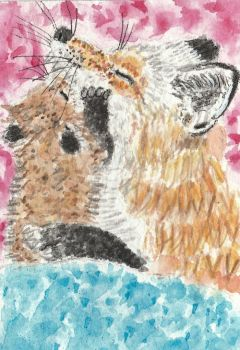 Mother  and baby fox watercolor  ACEO painting by tulipteardrops