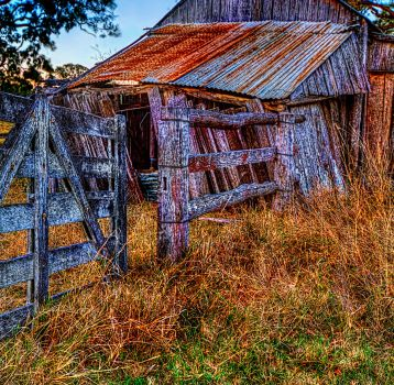 Country gate and shed by GeoffSporne