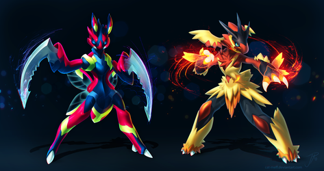 Scizor and Blaziken (redesigned + PSD) by cat-meff