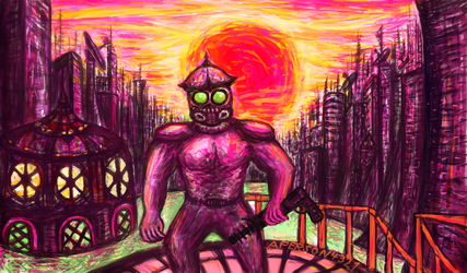 Red sun over city dystopia by aperson4321