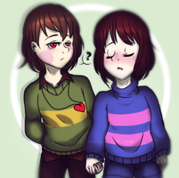 Undertale- Chara and Frisk || Collab || by spicyhunn