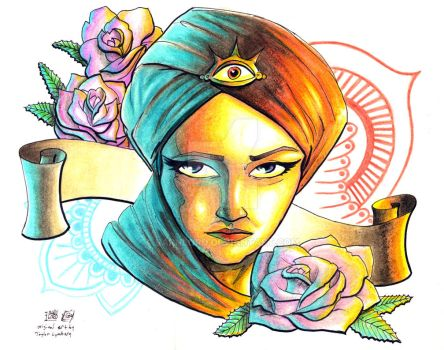 All Seeing Eye Girl Tattoo Design by Barnlord