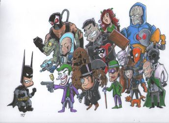 Batman Vs The Bad Guys by johnnyism