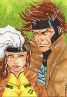 Gambit and Rogue Sketch Card by wheels9696