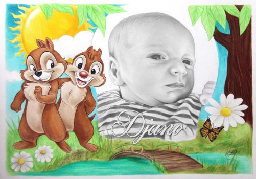 Commissioned portrait drawing. With Chip and Dale by kansineedegraefart