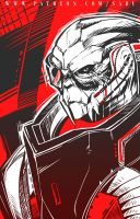 45 mins sketches - Garrus by SabuDN
