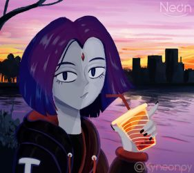 Teen Titans-Drink boba tea at sunset by KingNeonHappy