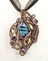 Purple and teal glass steampunk pendant by ukapala