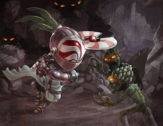Peppermint Knight vs. Asparaghouls by GhostAegis