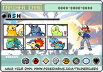 Ash Ketchum Johto Pokemon trainer card by lightyearpig