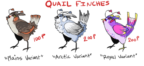 [quail finches] adoptable page [CLOSED] by ningbird
