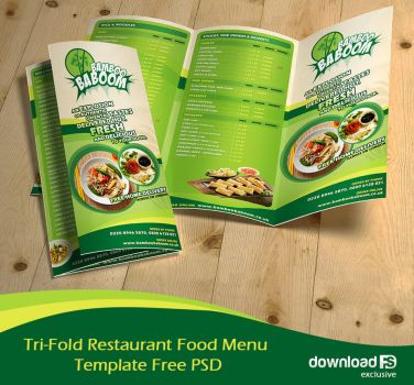 Tri-Fold Restaurant Food Menu Template Free PSD by amandhingra