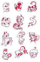 12 Chinese Zodiac by LittleDarkDragon