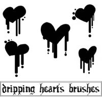 Dripping Hearts Brushes by Red--Roses