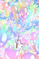 Pocchi and 167 balloons by ChosenVowels