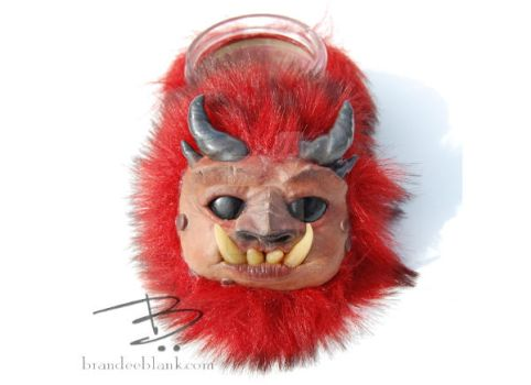 Red Fuzzy Monster Stash Jar by TinfoilHalo