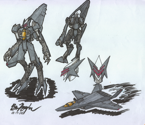 Jet Fighter Robot by illogictree