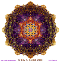 Golden Lace Mandala with Flower of Life -round- by Lilyas