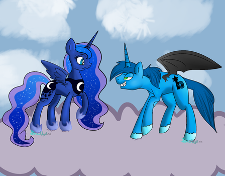 Fairly OddPonies - Anti-Cosmo and Princess Luna by MochiFries