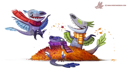 Daily Paint #1056. Autumn Dinos - Raptor Pile by Cryptid-Creations