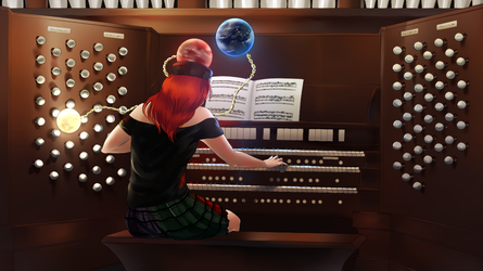 Commission - Hecatia playing the organ by TomomiChan1