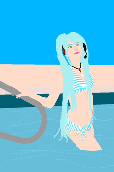 Redraw of ''Swimsuit Miku Cosplay'' By Firecloak by KarBoy2314PL
